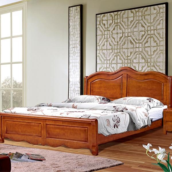 實木床兩閥門帶四門頂衣柜
