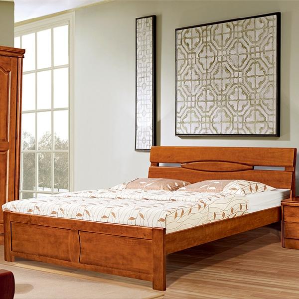 實木床兩閥門衣柜