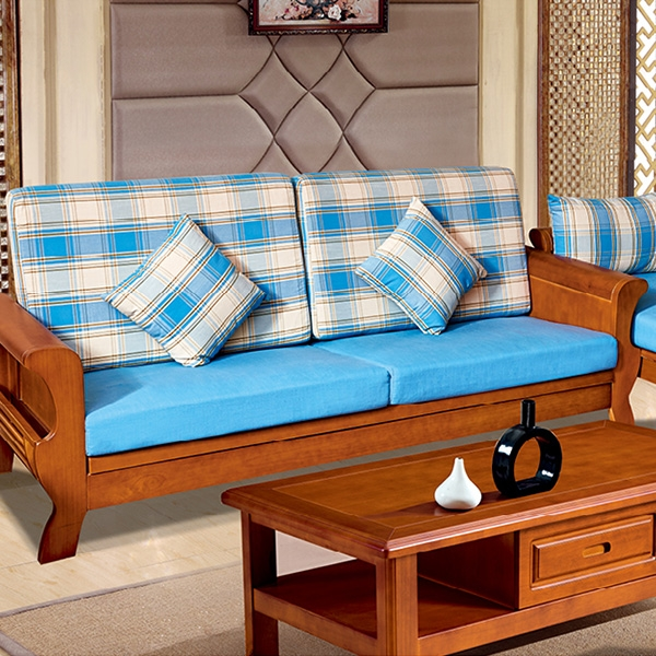 實木藍色沙發單抽茶幾